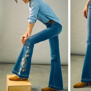 Anthropologie NWT Driftwood Farrah High-Rise Embroidered Bootcut Jeans Size 26.